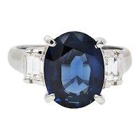 Contemporary 5.12 CTW Sapphire Diamond Platinum Gemstone Ring
