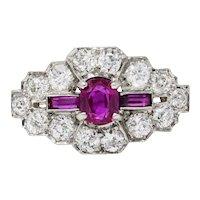 Art Deco 1.84 CTW Diamond Ruby Platinum Dinner Ring