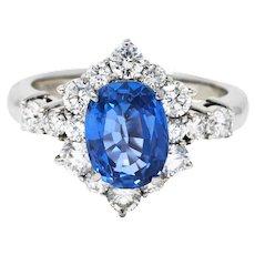 Contemporary 4.36 CTW Sapphire Diamond Platinum Cluster Ring