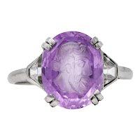 Neoclassical 4.95 CTW Purple Sapphire Diamond Platinum Zeus Intaglio Art Deco Ring