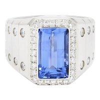 Contemporary 7.32 CTW Sapphire Diamond Platinum Men's Ring