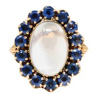 Retro Moonstone Sapphire 14 Karat Gold Cluster Ring