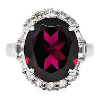 Contemporary Garnet Diamond Platinum Gemstone Cluster Ring