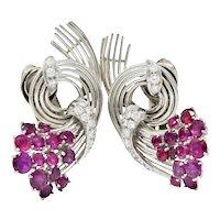 Retro 4.65 CTW Ruby Diamond Platinum Spiraling Ear-Clip Earrings