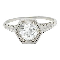 Early Art Deco 0.91 CTW Diamond Platinum Hexagonal Engagement Ring