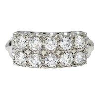 Retro 1.00 CTW Diamond 14 Karat White Gold Double Row Band Ring