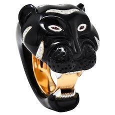 Vintage Onyx Diamond 18 Karat Two-Tone Gold Tiger Ring