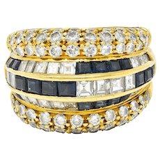 Tiffany & Co. 7.22 CTW Sapphire Diamond 18 Karat Gold Band Ring 1980's