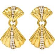 1970's Van Cleef & Arpels 1.50 CTW Diamond 18 Karat Gold Vintage Drop Ear-Clip Earrings