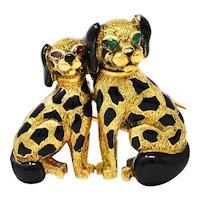 French Cartier Paris Emerald Ruby 18 Karat Gold Enamel Vintage Double Dog Brooch