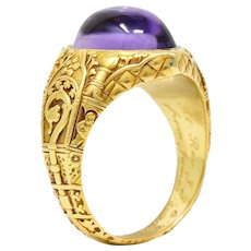 Antique 1901 Tiffany & Co. Amethyst Cabochon 18 Karat Gold Bishop Ecclesiastical Men's Ring