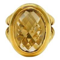 David Yurman Citrine 18 Karat Gold Gemstone Ring