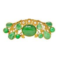 *Arts & Crafts Jadeite Jade Diamond 14 Karat Gold Brooch GIA