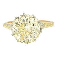 Arts & Crafts 7.12 CTW Fancy Yellow Diamond 14 Karat Tri-Colored Gold Engagement Ring GIA