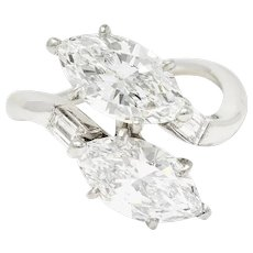 3.17 Carats Marquise Diamond Platinum Bypass Engagement Ring GIA