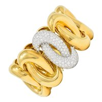 Charles Turi Vintage 7.50 CTW Pave Diamond 18 Karat Two-Tone Linked Knot Bracelet