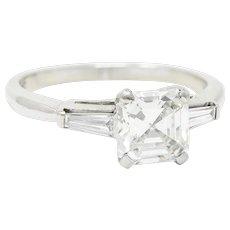 1950's Mid-Century 1.24 CTW Asscher Diamond Platinum Engagement Ring GIA