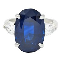 Vintage 11.70 CTW No Heat Sapphire Diamond Platinum Statement Ring AGL