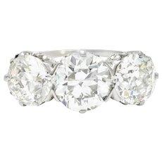 Tiffany & Co. Art Deco 5.50 CTW Diamond Platinum Three Stone Ring