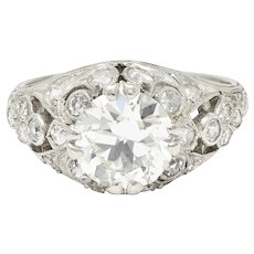 Edwardian 2.33 CTW Diamond Platinum Engagement Ring