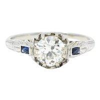 Art Deco 1.23 CTW Diamond Sapphire 14 Karat White Gold Foliate Engagement Ring GIA