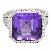 Contemporary Amethyst Diamond 18 Karat White Gold Greek Key Ring
