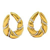 Craig Drake 1.25 CTW Diamond 18 Karat Two-Tone Gold Italian Loop Earrings