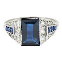 1920's Art Deco 2.79 CTW Sapphire Diamond Platinum Band Ring
