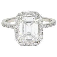 Cartier 3.82 CTW Emerald Cut Diamond Platinum Halo Engagement Ring GIA