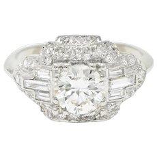 Late Art Deco 2.00 CTW Diamond Platinum Dinner Ring