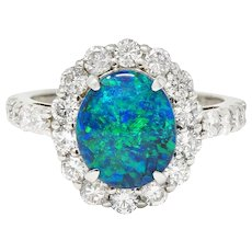 Contemporary Opal 1.38 CTW Diamond Platinum Cluster Ring