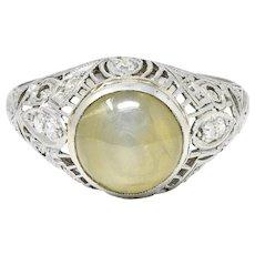 Edwardian Cat's Eye Chrysoberyl Diamond Platinum Butterfly Bombe Ring