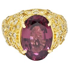 Contemporary 7.51 CTW Spinel Diamond 14 Karat Gold Gemstone Ring