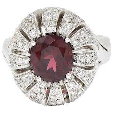 Vintage Garnet Diamond 18 Karat White Gold Pinwheel Cluster Ring