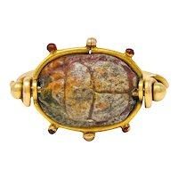 Tiffany & Co. Hardstone Scarab Antique 18 Karat Gold Egyptian Revival Ring