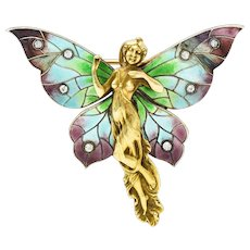 Art Nouveau Diamond Enamel 14 Karat Gold Fairy Brooch