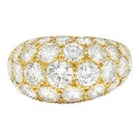 Oscar Heyman 7.50 CTW Pave Diamond 18 Karat Gold Bombe Band Ring