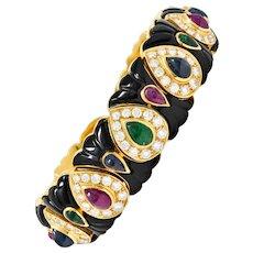 Craig Drake Diamond Ruby Emerald Sapphire Onyx 18 Karat Gold Cuff Bracelet