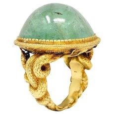 Substantial Emerald 22 Karat Gold Snake Gemstone Ring