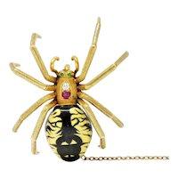 Riker Brothers Enamel Diamond Ruby 14 Karat Gold Spider Art Nouveau Brooch