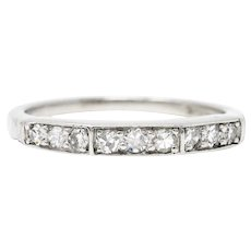 Art Deco Single Cut Diamond Platinum Angular Stacking Band Ring