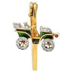 French Edwardian Diamond Enamel Platinum-Topped 18 Karat Gold Antique Car Safety Pin Brooch