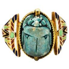 Art Deco Egyptian Revival Enamel Hardstone 14 Karat Gold Scarab Ring