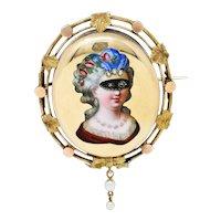 1860's Victorian Enamel Diamond Pearl 14 Karat Gold Masquerade Brooch