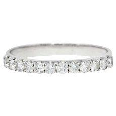 Contemporary 0.36 CTW Diamond 18 Karat White Gold Anniversary Band Ring