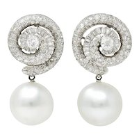 French Mid-Century 3.95 CTW Diamond Pearl Platinum Convertible Spiral Drop Ear-Clip Earrings