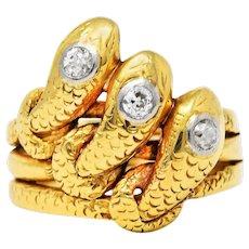 Early Edwardian Diamond 18 Karat Gold Triple Snake Ring