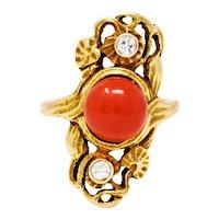 Art Nouveau Carnelian Diamond 14 Karat Gold Gemstone Ring