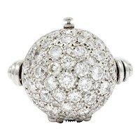 LeCoultre 3.00 CTW Pave Diamond Platinum Swiss Watch Ring