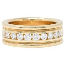 Vintage 1.25 CTW Diamond 14 Karat Gold Men's Wedding Band Ring